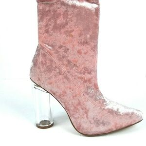 Shoes - Pink Clear Chunky Heel Booties